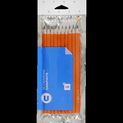 Crayons graphites U, plastique, HB, 10 unités