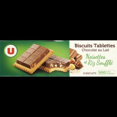 Biscuits tablette au chocolat au lait noisettes et riz soufflé U, paquet de 145g