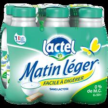 Lait UHT à teneur réduite en lactose, écrémé, MATIN LEGER, bouteille6x50cl