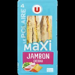 Sandwich maxi club, pain polaire, jambon cheddar, U, 210g