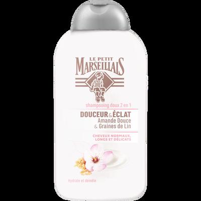 Shampoing pour cheveux normaux, longs et délicats hydrate et démêle parfum amande douce graines de lin LE PETIT MARSEILLAIS, flacon de 250ml