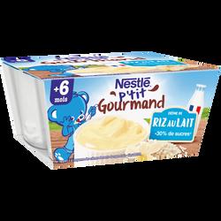 Dessert infantile crème de riz au lait P'tit Gourmand NESTLE, dès 6 mois, 4x100g