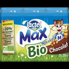 Boisson lactée stérilisée au chocolat sucrée, Max Bio LACTEL, 3 briques x20cl