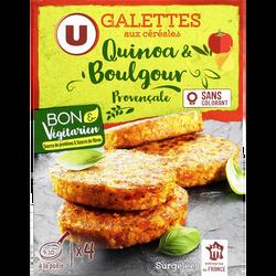 Galettes quinoa & boulgour provençale U BON&VEGETARIEN, paquet de 4x100g