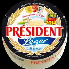 Fromage allégé au lait pasteurisé Léger PRESIDENT, 11% de MG, 250g
