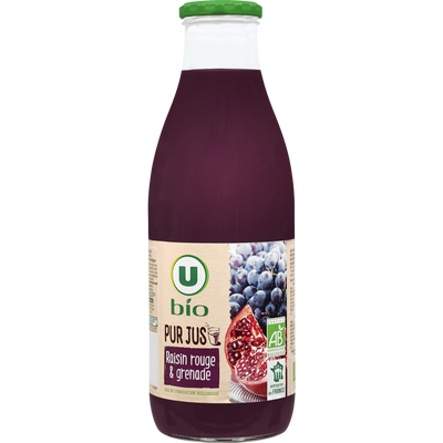 Pur jus raisin rouge/grenade, U BIO, bocal en verre, 1L