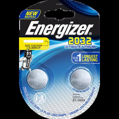 Piles ENERGIZER, ultimate lithium, CR2032, 2 unités