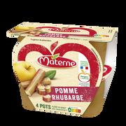 Materne Compote Allégée Pomme/rhubarbe Materne, 4x100g