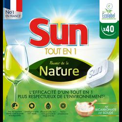 Nettoyant lave vaisselle tout en 1 nature SUN, 40 doses
