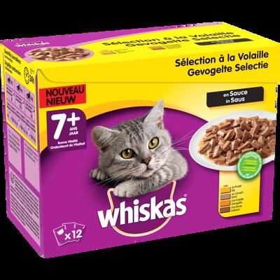 Aliment pour chat Les Assortiments en sauce aux viandes 4 variétés WHISKAS, 12x100g