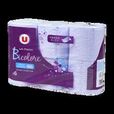 Papier toilette 3 plis bicolore violet U, 6 rouleaux