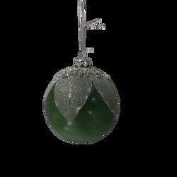 Boule suspension avec perles en verre 8cm clair vert/argent