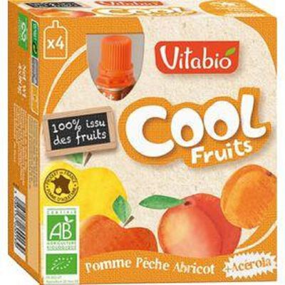 Compote Cool Fruits Pomme Pêche Abricot Bio Vitabio 4 gourdes 90g