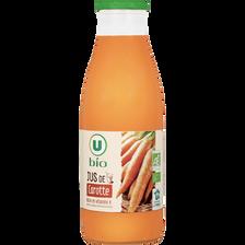 Jus de carottes U BIO, bouteille en verre de 75cl