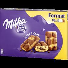 Gâteaux moelleux au chocolat Cake & Choc MILKA, 10 sachets, 350g