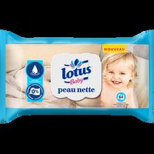 Lingettes peau nette lotion hydratante LOTUS BABY, x 64