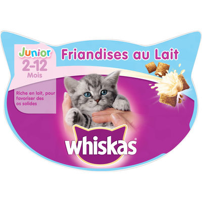 Friandises au lait junior 2 à 12 mois WHISKAS, 55g