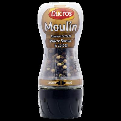 """Mélange de poivres et arômates """"Saveur"""" DUCROS, moulin de 30g"""