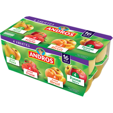 Dessert fruitier pom.nat,p/abr,p/frais,p/poire ANDROS16X100G