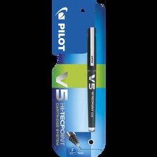 Stylo roller V5 Begreen PILOT, rechargeable, encre liquide infalsifiable, pointe high-tech, écrit.fine, noir