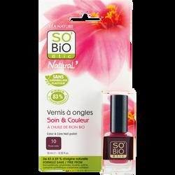 Vernis à ongles, soin et couleur, à l'huile de ricin biologique 10 prune noire