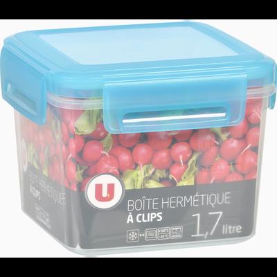 Boîte hermétique U MAISON, carrée, clips, 1,7 litres, couvercle bleu