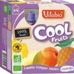 Compote Cool Fruits Pomme Mangue Ananas Bio Vitabio 4 gourdes 90g
