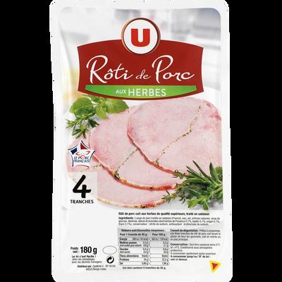 Rôti de porc cuit aux herbes viande de porc Française U, 4 tranches soit 180g