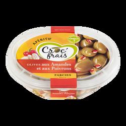 Olives farcies aux amandes et poivron, CROC'FRAIS, barquette 200g