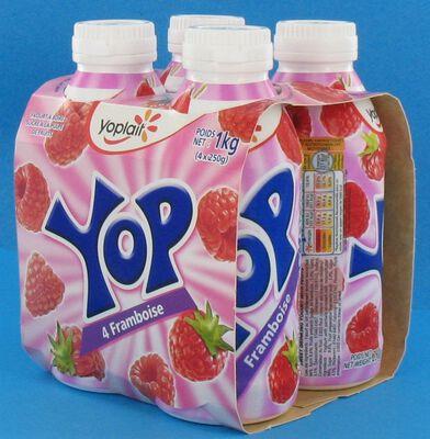 Yaourts à boire parfum framboise YOP, 4x250g