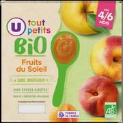 Soleil Pots Dessert Aux Fruits Du Soleil Tout Petits Bio U, De 4 À 6 Mois, 4x100g