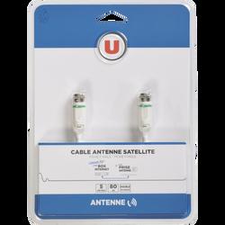 Câble satellite U 80DB, 5m, connecteurs:fiche F mâle blanc plaques nickel blanc, cordon équipé de fiches F pour raccorder votre parabole ouprise murale à votre démodulateur
