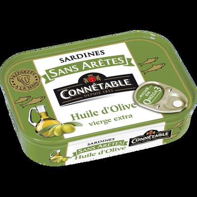 Sardine sans arêtes à l'huile d'olive, CONNETABLE, boîte de 1/5, 140g
