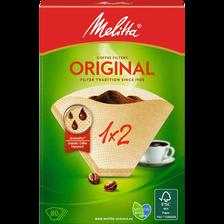 Filtres à café n°2 MELITTA Original, 80 unités + 1 sachet de détartrant