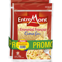 Emmental français râpé au lait thermisé ENTREMONT, 29% de MG, 2x150g