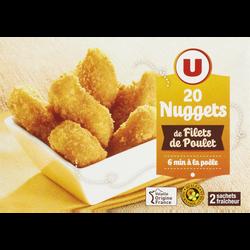 Nuggets de filet de poulet, U, France, 20 pièces, 400g