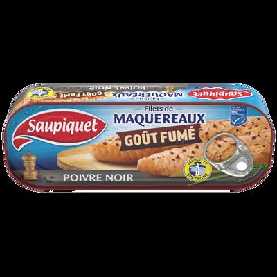 Filet de maquereaux fumé poivre noir SAUPIQUET, boîte1/4, 120g