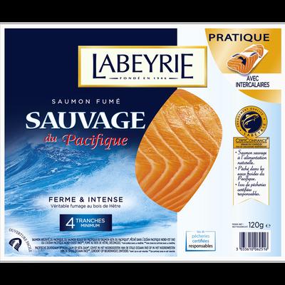 Saumon fumé sauvage Pacifique LABEYRIE, 4 tranches, 120g