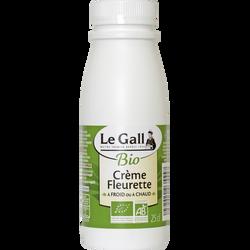Crème fraîche fleurette bio LE GALL, 30% de MG, bouteille de 25cl