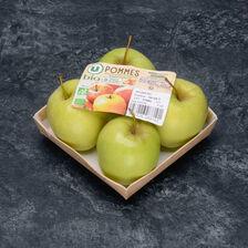 Pomme golden delicious, U BIO, calibre 136/165, catégorie 2, France, barquette 4 fruits