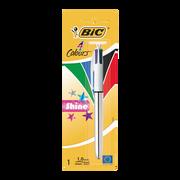 Bic Stylo Bille Rétractable Shine 4 Couleurs Bic, Pointe Moyenne 1mm, Crochet Supérieur, 1 Unité, 4 Couleurs Ass.