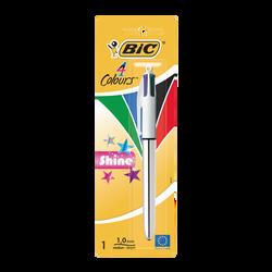 Stylo bille rétractable Shine 4 couleurs BIC, pointe moyenne 1mm, crochet supérieur, 1 unité, 4 couleurs ass.