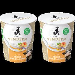 Yaourt brassé bio au lait entier de vache sur confiture d'abricot et miel de lavande LE PETIT VENDEEN 2x125g