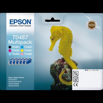 Pack 6 cartouches d'encre EPSON pour imprimante, T0487 Hippocampe, sous blister