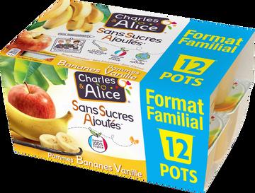 Charles & Alice Dess.de Frts Pommes/banane/vanille Sans Sucre Ajouté Charles & Alice 12x97g Format Familial