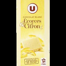 Chocolat blanc écorces de citron, U, tablette de 100g