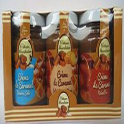 Minipack 3 crèmes de caramel : beurre salé, éclats de biscuits, noisettes,  3X120gr, pots, l'artisan chocolatier