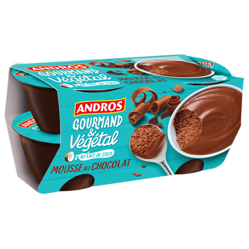 Andros Mousse Végétale Chocolat Andros 4x55g