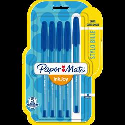 Stylo bille INKJOY 100 PAPERMATE, pointe fine, bleu, 5 unités