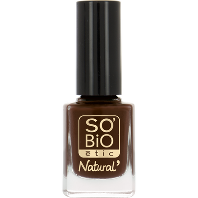 Vernis à ongles, soin et couleur, à l'huile de ricin biologique 15 brun chocolat  - Sans étui